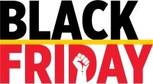 Stylized text that reads Black Friday