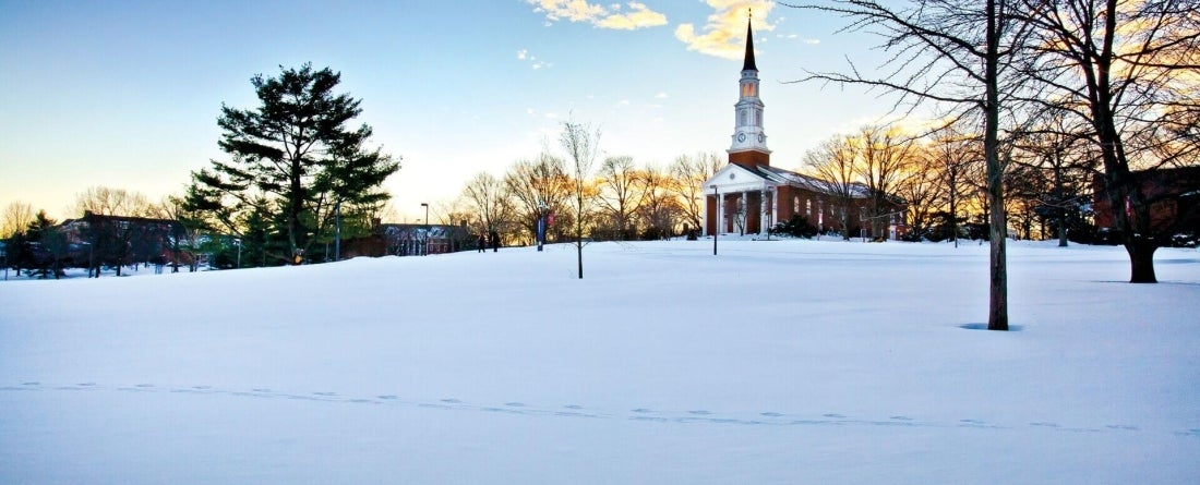 Memorial Chapel in winter