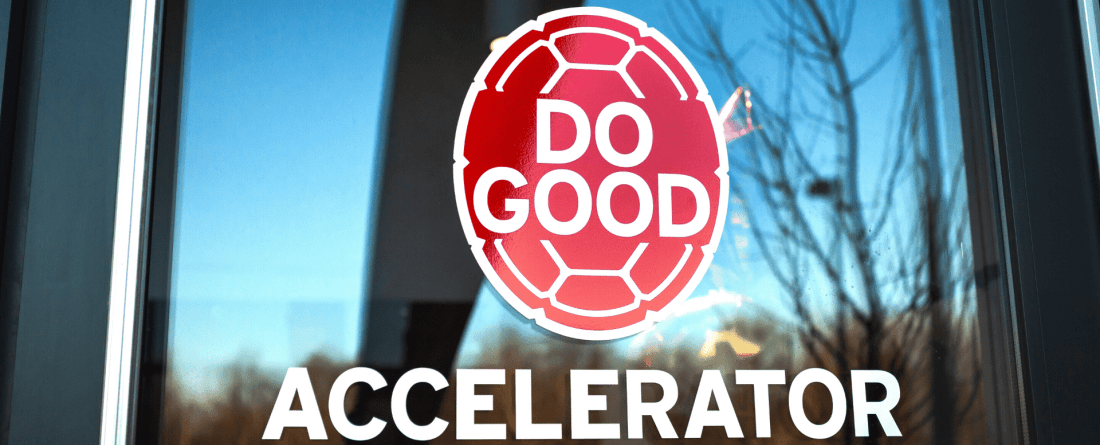 "a picture of the do good accelerator window which has the shell logo on it, with the word ""accelerator"" printed underneath"